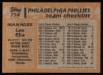 1988 Topps #254  Lee Elia  Back Thumbnail