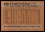 1988 Topps #177  Frank Tanana  Back Thumbnail