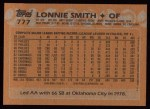 1988 Topps #777  Lonnie Smith  Back Thumbnail