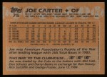 1988 Topps #75  Joe Carter  Back Thumbnail