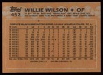1988 Topps #452  Willie Wilson  Back Thumbnail