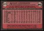 1989 Topps #672  Allan Anderson  Back Thumbnail