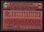 1989 Topps #746  German Gonzalez  Back Thumbnail
