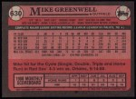 1989 Topps #630  Mike Greenwell  Back Thumbnail