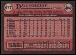 1989 Topps #677  Dave Schmidt  Back Thumbnail