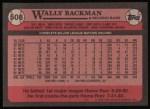 1989 Topps #508  Wally Backman  Back Thumbnail