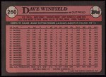1989 Topps #260  Dave Winfield  Back Thumbnail