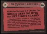 1989 Topps #2   -  Wade Boggs Record Breaker Back Thumbnail