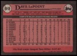 1989 Topps #89  Dave LaPoint  Back Thumbnail