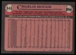 1989 Topps #345  Charlie Hough  Back Thumbnail