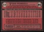 1989 Topps #535  Todd Worrell  Back Thumbnail