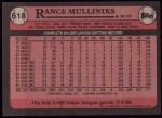 1989 Topps #618  Rance Mulliniks  Back Thumbnail