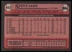 1989 Topps #463  Steve Lake  Back Thumbnail