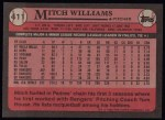 1989 Topps #411  Mitch Williams  Back Thumbnail