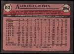 1989 Topps #62  Alfredo Griffin  Back Thumbnail