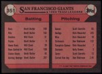 1989 Topps #351   Giants Leaders Back Thumbnail