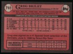 1989 Topps #781  Greg Briley  Back Thumbnail