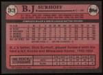 1989 Topps #33  B.J. Surhoff  Back Thumbnail