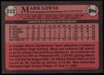 1989 Topps #222  Mark Lewis  Back Thumbnail