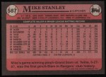 1989 Topps #587  Mike Stanley  Back Thumbnail