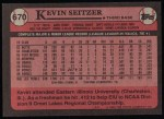 1989 Topps #670  Kevin Seitzer  Back Thumbnail