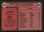 1989 Topps #396   -  Kirk Gibson All-Star Back Thumbnail