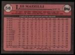 1989 Topps #58  Lee Mazzilli  Back Thumbnail