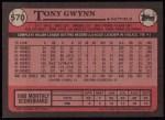 1989 Topps #570  Tony Gwynn  Back Thumbnail