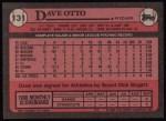 1989 Topps #131  Dave Otto  Back Thumbnail