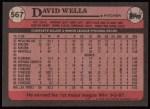 1989 Topps #567  David Wells  Back Thumbnail