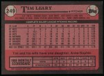 1989 Topps #249  Tim Leary  Back Thumbnail
