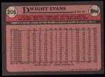 1989 Topps #205  Dwight Evans  Back Thumbnail