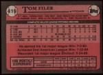 1989 Topps #419  Tom Filer  Back Thumbnail