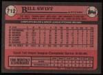 1989 Topps #712  Bill Swift  Back Thumbnail