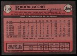1989 Topps #739  Brook Jacoby  Back Thumbnail