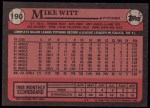 1989 Topps #190  Mike Witt  Back Thumbnail