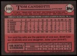 1989 Topps #599  Tom Candiotti  Back Thumbnail