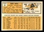 1963 Topps #58  Bob Will  Back Thumbnail