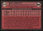 1989 Topps #573  Jim Abbott  Back Thumbnail