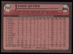 1989 Topps #702  Jamie Quirk  Back Thumbnail