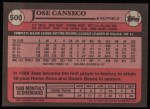 1989 Topps #500  Jose Canseco  Back Thumbnail