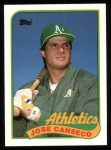 1989 Topps #500  Jose Canseco  Front Thumbnail