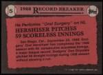 1989 Topps #5   -  Orel Hershiser Record Breaker Back Thumbnail