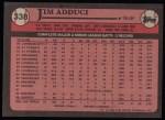 1989 Topps #338  Jim Adduci  Back Thumbnail