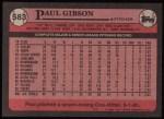 1989 Topps #583  Paul Gibson  Back Thumbnail