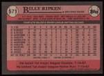 1989 Topps #571  Billy Ripken  Back Thumbnail