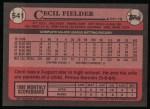 1989 Topps #541  Cecil Fielder  Back Thumbnail