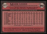 1989 Topps #327  Mark Lemke  Back Thumbnail