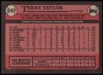 1989 Topps #597  Terry Taylor  Back Thumbnail
