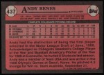 1989 Topps #437  Andy Benes  Back Thumbnail